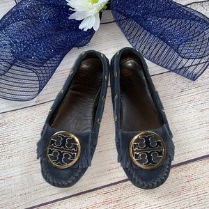 Tory Burch Blue Suede Shoes Leather Moccasins 5
